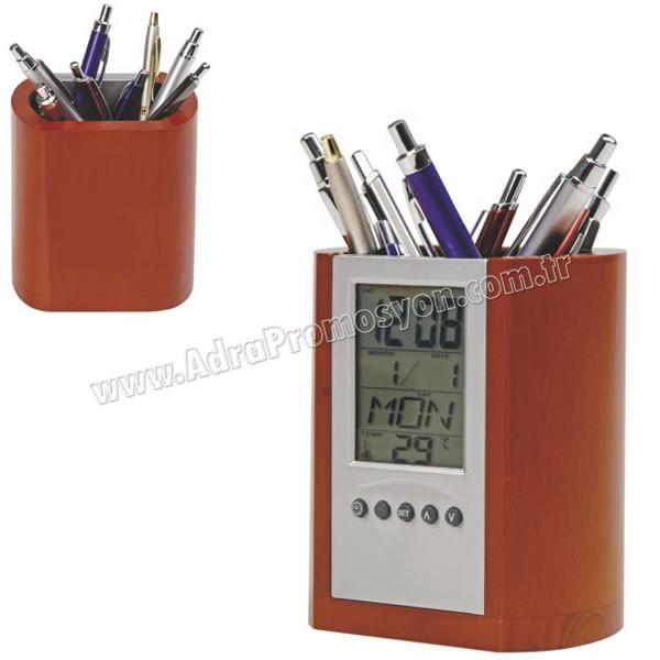 Promosyon Ahşap Kalemlik Dijital Saat Tarih Termometre AMG13303