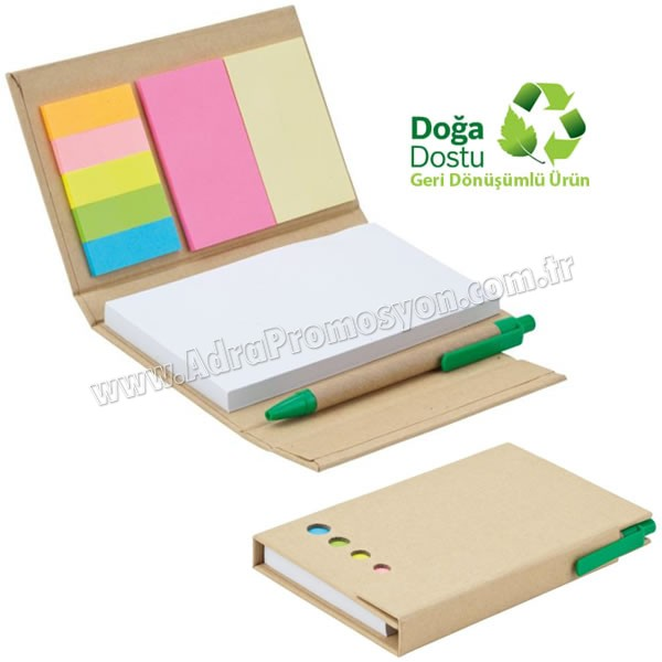 Promosyon Geri Dönüşümlü Bloknot - Kalemli ve Renkli Yapışkan Notluklu AGD24148
