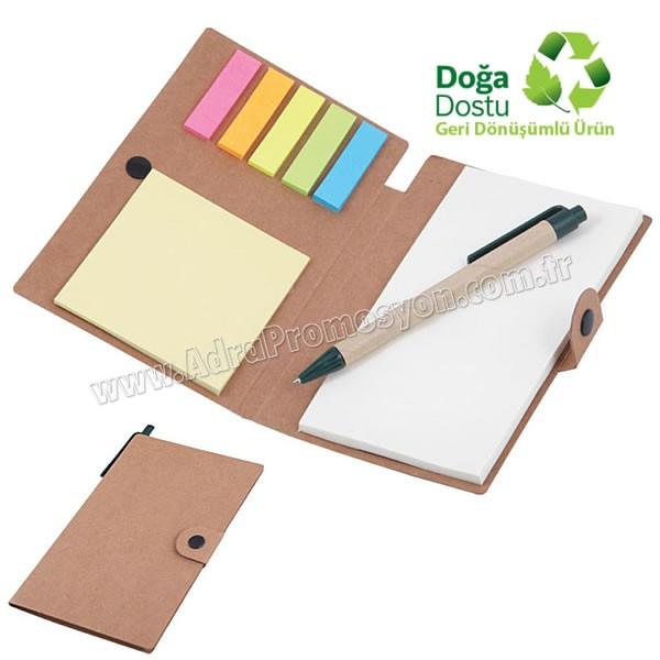 Promosyon Geri Dönüşümlü Bloknot - Kalemli ve Renkli Yapışkan Notluklu AGD24161