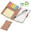 AGD24161 Promosyon Geri Dönüşümlü Bloknot - Kalemli ve Renkli Yapışkan Notluklu