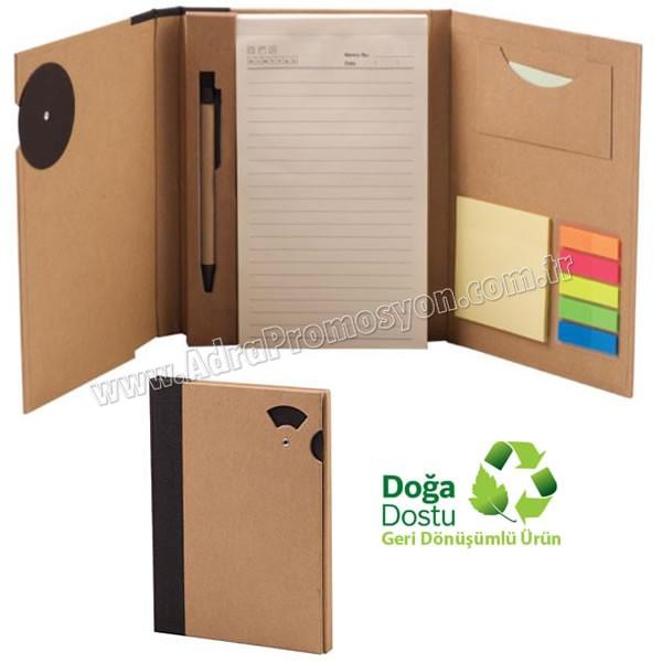 Promosyon Geri Dönüşümlü Bloknot - Kalemli ve Renkli Yapışkan Notluklu AGD24163