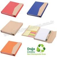 Promosyon Geri Dönüşümlü Bloknot - Kalemli ve Renkli Yapışkan Notluklu AGD24164