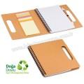 AGD24122 Promosyon Geri Dönüşümlü Spiralli Bloknot - Kalemli ve Renkli Yapışkan Notluklu