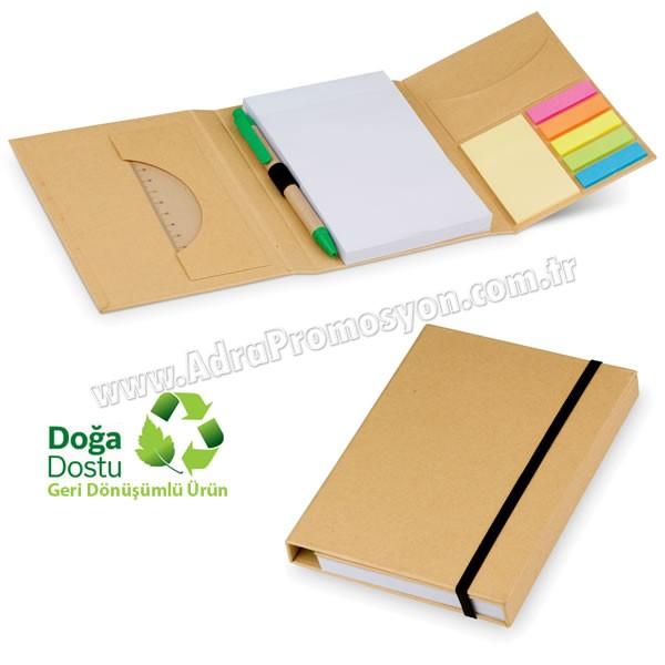 Promosyon Geri Dönüşümlü Bloknot - Kalemli ve Renkli Yapışkan Notluklu AGD24125