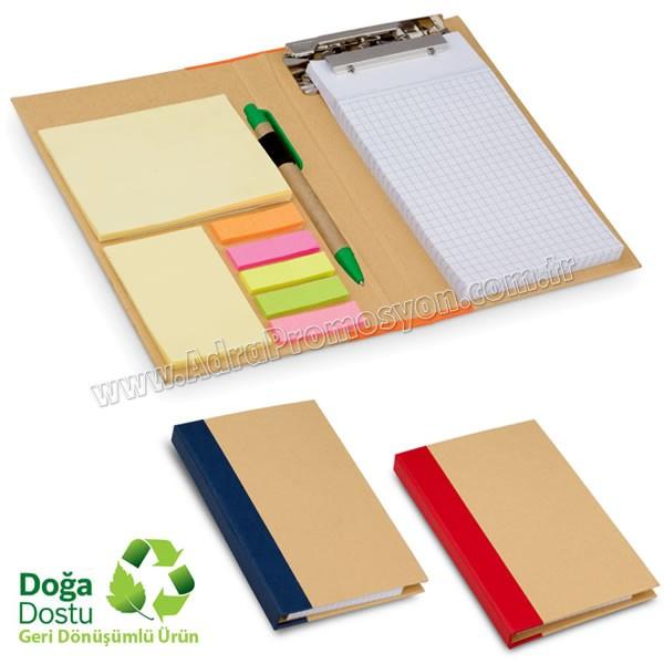 Promosyon Geri Dönüşümlü Bloknot - Kalemli ve Renkli Yapışkan Notluklu AGD24126