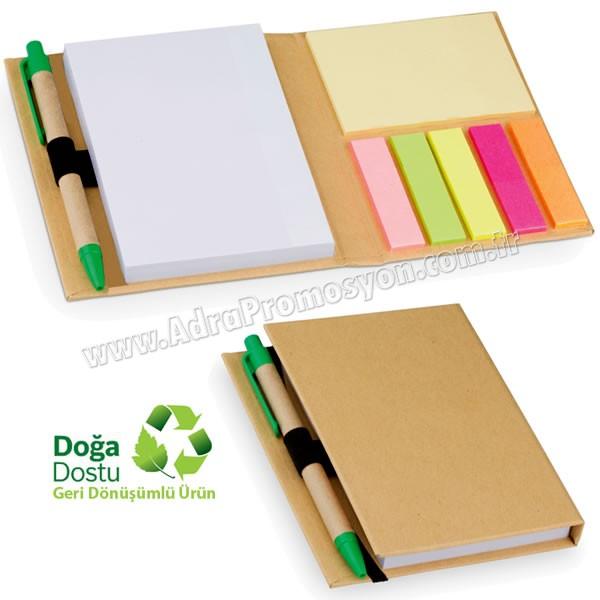 Promosyon Geri Dönüşümlü Bloknot - Kalemli ve Renkli Yapışkan Notluklu AGD24128