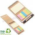 AGD24132 Promosyon Geri Dönüşümlü Spiralli Bloknot - Kalemli ve Renkli Yapışkan Notluklu
