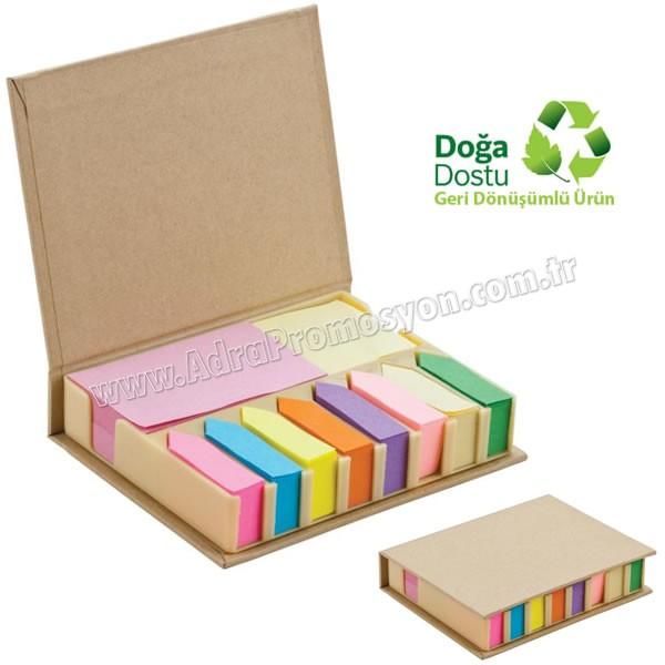 Promosyon Geri Dönüşümlü Notluk Seti - Renkli Yapışkan Notluklu AGD24155