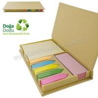 Promosyon Geri Dönüşümlü Notluk Seti - Renkli Yapışkan Notluklu AGD24156
