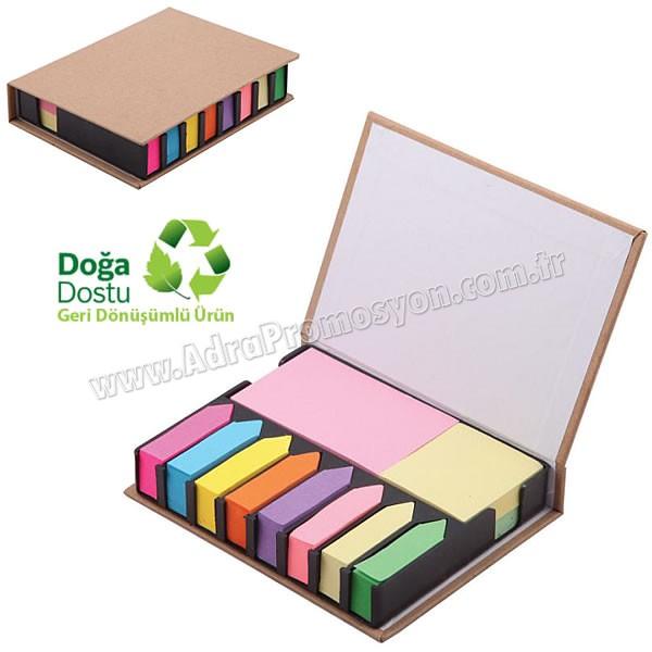 Promosyon Geri Dönüşümlü Notluk Seti - Renkli Yapışkan Notluklu AGD24166
