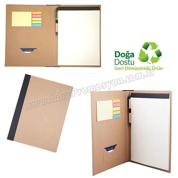 Promosyon Geri Dönüşümlü Sekreter Bloknot - Kalemli ve Renkli Yapışkan Notluklu AGD24165