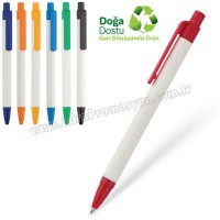 Promosyon Geri Dönüşümlü Kalem - Beyaz Gövdeli Tükenmez AGD24135