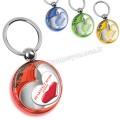 AA1554-S Promosyon Kalp Figürlü Anahtarlık Şeffaf Renkli Çift Taraflı