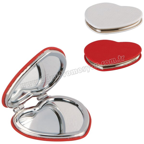 Promosyon Kalp Makyaj Aynası - Deri Metal Büyüteçli AAM10130