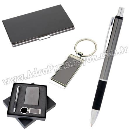 Promosyon Kartvizitlik Seti Füme Metal Kalem ve Anahtarlıklı GKV817-F